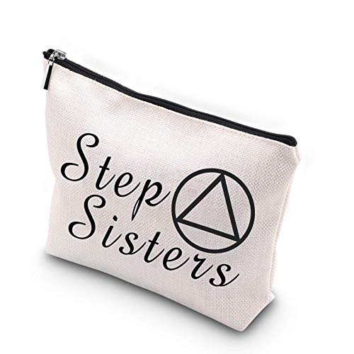 WCGXKO Sobriety Sister Sobriety Best Friend Gift AA Gift NA Gift Zipper Pouch Cosmetics Bag For Step Sisters (Step Sisters)