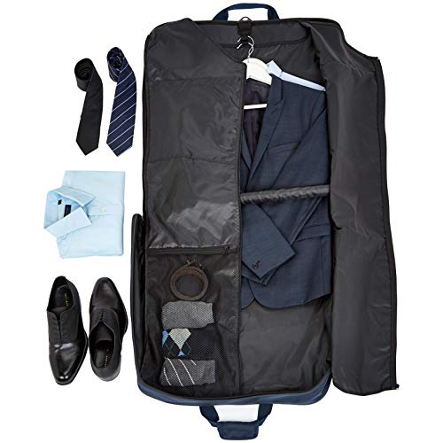 Amazon Basics Premium Travel Hanging Luggage Suit Garment Bag, 23 Inch, Navy Blue