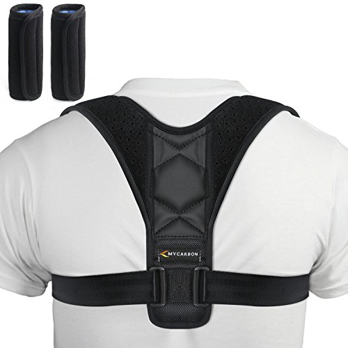 MYCARBON Fascia Posturale Correttore Postura Schiena Traspirante Compatto Regolabile Raddrizzaspalle Tutore Postura Supporto Schiena per Uomo Donna(M)