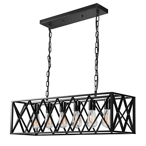 Industrial Kitchen Island Pendant Light,6-Light Rectangle Linear Vintage Hanging Light,Black Cage Farmhouse Chandelier,E26 Rustic Ceiling Pendant Light Fixture for Dining Room Restaurant Bar Cafe