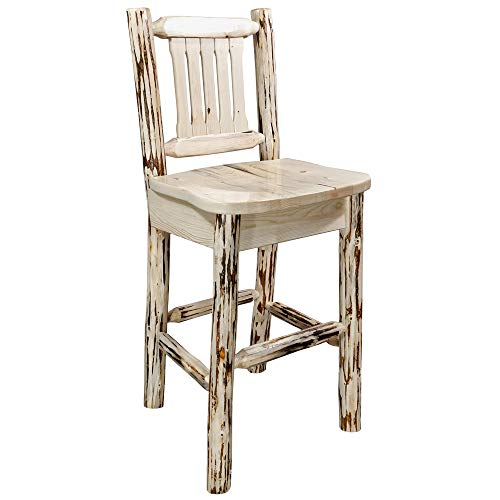 Montana Woodworks Montana Collection Barstool with Back and Ergonomic Wooden Seat, Ready to Finish