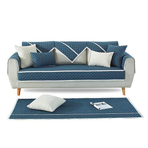 PETCUTE Sofahusse Sofabezüge Sofaüberwurf Sofabezug Sofa Schutz Abdeckung Gesteppte sofabezüge für ecksofa Blau 90X90cm