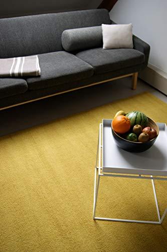 Tapis Moderne en Laine Loft Mustard Jaune Moutarde 80x150cm - 100% Pure Laine Vierge en Couleurs Vives