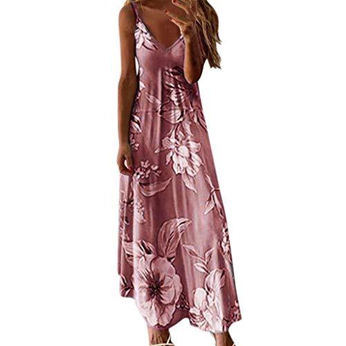 ZBYY Maxi vestidos sin mangas de verano con cuello en V profundo floral Cami Maxi vestido largo con correa de espagueti para la playa - rosa - 4X-Large