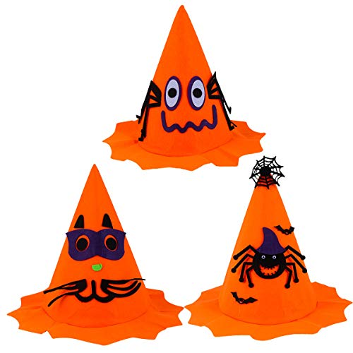 VILLCASE 3 Unids Halloween Bruja Calabaza Sombreros Naranja Calabaza Tapas para Halloween (Naranja) - Suministros para mascotas