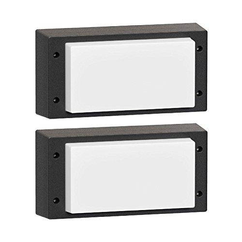 parlat LED Außenleuchte Vela, Outdoor, eckig, schwarz, IP54, 10W, 510lm, warm-weiß, 2 STK.