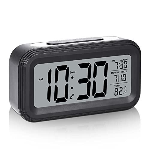 Alarm Clocks for bedrooms, Battery Operated Alarm Clock Digital Alarm Clock with Date, Temperature and Alarm, Snooze, Light Sensor Loud Alarm Clock Bedside