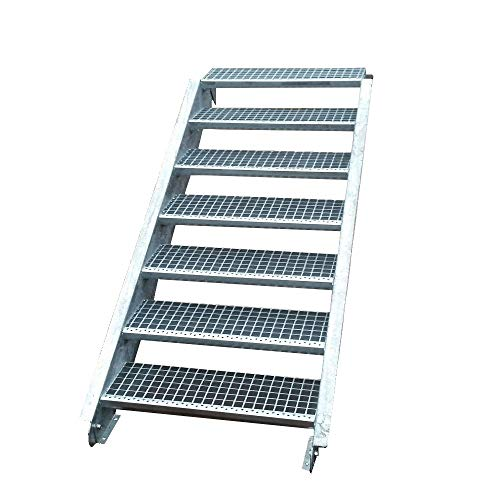 Stahltreppe Aussentreppe Wangentreppe verzinkt 7 Stufen GH 105 - 140 cm 7-150-Z