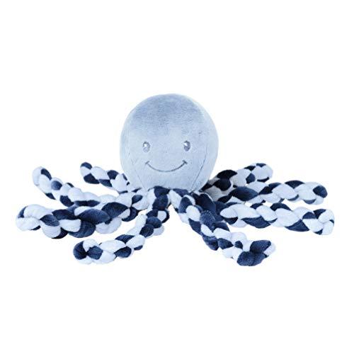 Nattou 878722 Lapidou Kuscheltier Oktopus, Für Neugeborene und Frühchen, 23 cm, Blau, Hellblau/Dunkelblau