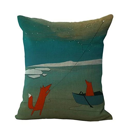 Two World Fish and Birds Lotus Pattern Throw Pillow Covers Decorative Cushion Covers 18 x 18 by loQuenn