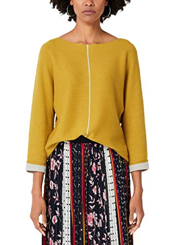 s.Oliver RED LABEL Damen Pullover mit Kontrast-Details yellow 38