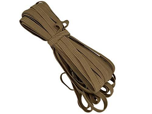 Bowtique Emilee 1/4' Elastic 10 yards Bundle, Braided Skinny Elastic for Face Masks, Headbands or Hair Ties (Tan)