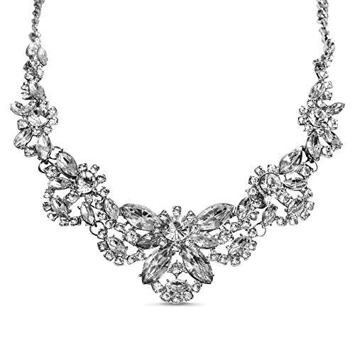 Steve Madden Floral Rhinestone Statement Necklace for Women