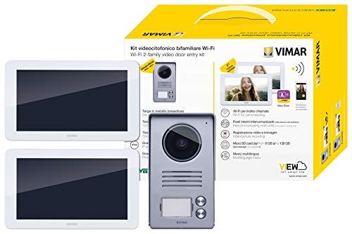 Vimar K40946 Kit videoportero contenido: 2 videoporteros Wi-Fi táctil LCD 7in, placa de entrada audio/vídeo de 2 botones, 2 alimentadores con clavijas intercambiables, con soporte de instalación