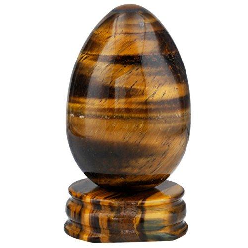 mookaitedecor Tigerauge Kristall Ei Oval Kugel mit ständer, Edelstein für Heilung Reiki Chakra und Familie Dekoration Schmückung