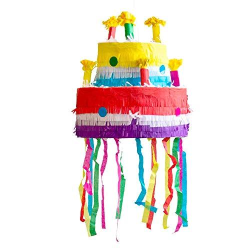 Party Factory Pinata Torte Bunt Kinder Geburtstag Schlag-Pinata 29x29x31 cm Dekoration Geburtstagsdeko