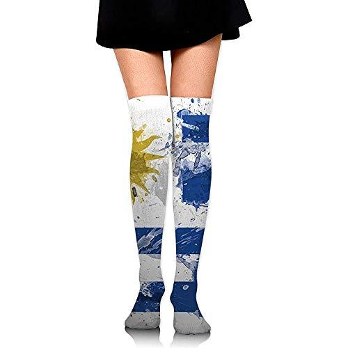 Jesse Tobias Medias extra largas hasta la rodilla Medias altas Bota Medias Calentadores de piernas Pintura de bandera de Uruguay