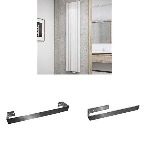 Schulte Design-Heizkörper Aachen, 120 x 46 cm, Schulte Handtuchhalter, edelstahl gebürstet und Schulte Handtuchhalte, 43 cm
