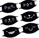 Mundschutz Maske mit Smiley Motiv // 6 Stück // Aus Baumwolle bunt, lustig, komisch für Männer & Frauen // Waschbar & Wiederverwendbar