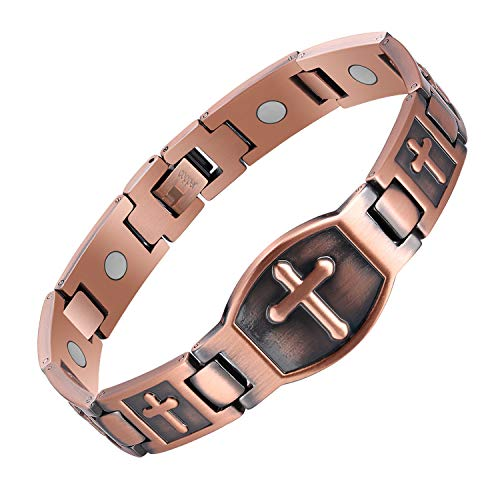 Jecanori Copper Bracelet for Men Arthritis Cross Magnetic Therapy Bracelet Pain Relief and Carpal Tunnel 99.9% Copper Health Healing Bracelet,Ultra Strength 3500 Gauss Magnets