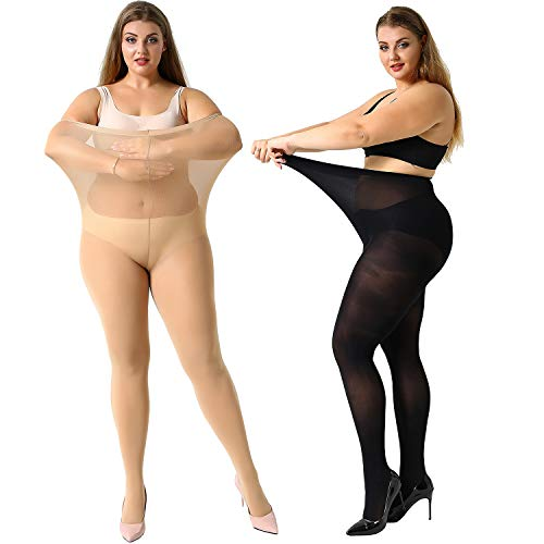 MANZI Women's 2 Pairs Plus Size Control Top Ultra-Soft Casual Tights XXXL (Finding The Best Female Ankle Tattoos)