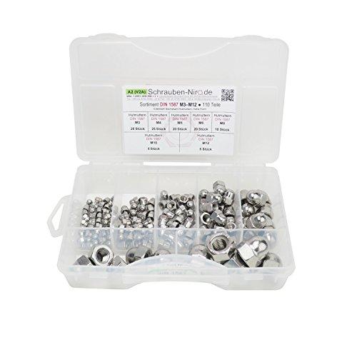 Sortiment Edelstahl A2 Hutmuttern DIN 1587, M3 bis M12, 110 Teile, Material: V2A VA