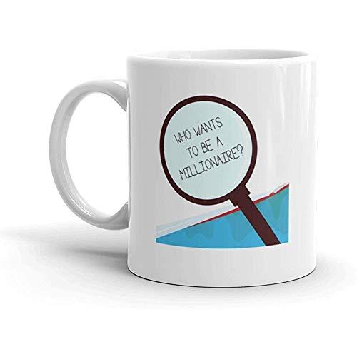 Taza Escritura a mano Texto Quién quiere ser millonario Pregunta Significado Juego de melodía Dinero garantizado Taza de café Taza