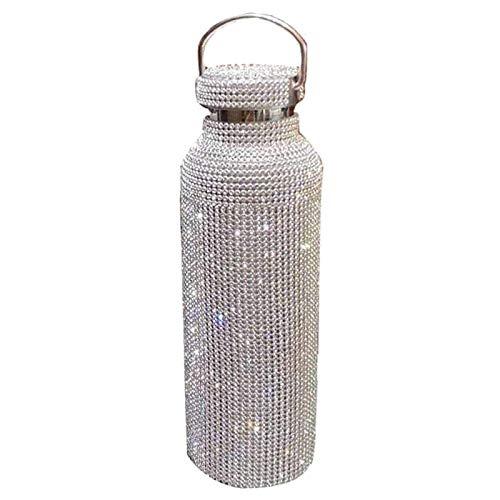 Auleset Termo de acero inoxidable con cristales de imitación aislados, botella de acero inoxidable, 350 ml