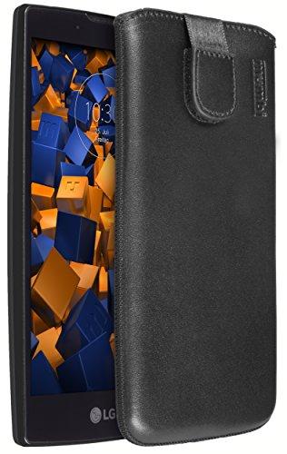 mumbi Echt Ledertasche kompatibel mit LG G4C / Magna Hülle Leder Tasche Case Wallet, schwarz