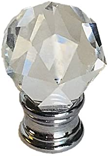 Upggradelights Clear Faceted Orb Crystal Finial with Polished Chrome Base