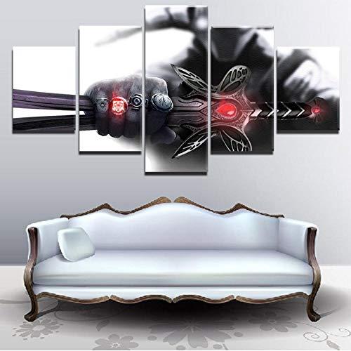 Cuadro de lienzo modular Decoración del hogar 5 piezas DotA 2 Sven Imagen Póster de juego impreso en HD moderno para el arte de la pared de la sala de estar + Pintura de lienzo modular decoración