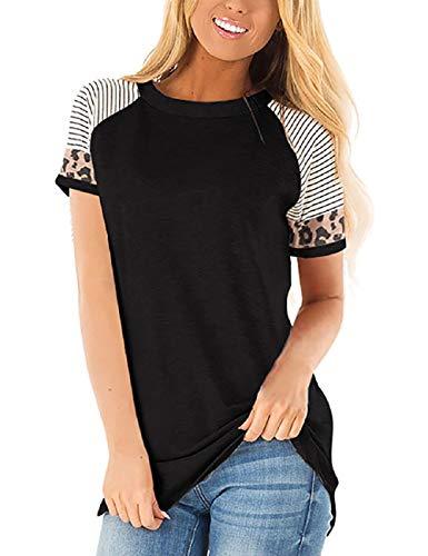SEBOWEL Gestreepte Tops Vrouwen Casual Korte Mouw Luipaard Print Blouse T-Shirt