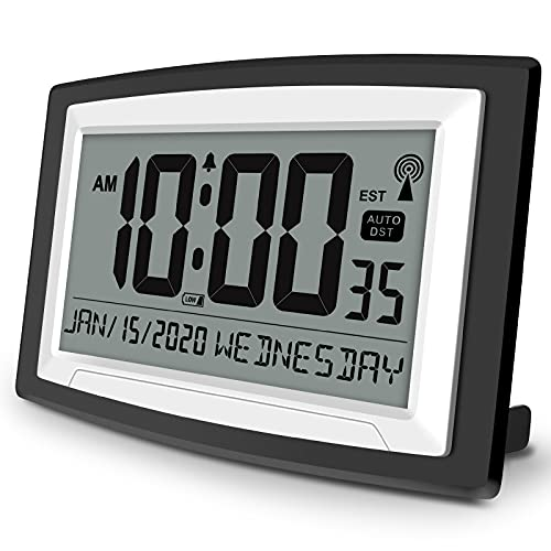 WallarGe Atomic Wall Clock with Date and Day, Batterry Operated Wall Clocks with Large Digital Display for Seniors ,Auto Daylight Saving Time, 4 Time...