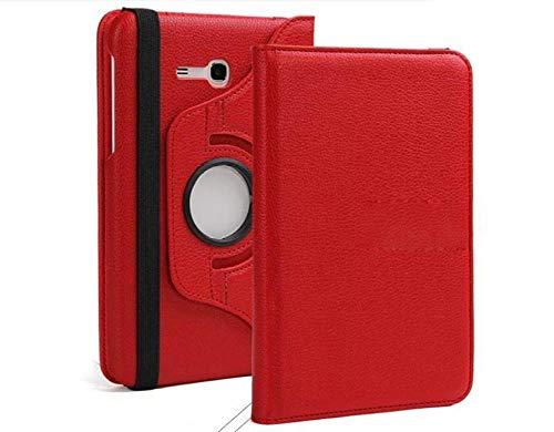 360 Rotation PU Leathe Case para LA Tabla DE Galaxy 3 7'Lite SM-T110 T111 T116 Capa de la Caja para Samsung Tab e Lite 7.0 T113 Tablet Funda-Rojo