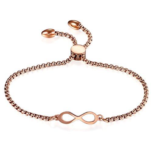JewelryWe Schmuck Damen Armband, Lieben Infinity Unendlichkeit Zeichen Verstellbar Charm Armkette Armreif, Edelstahl, Rosegold