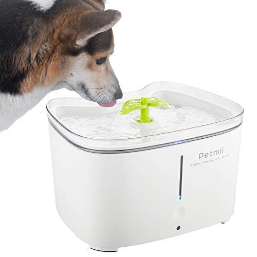 Petmii Bebedero Gatos, Fuente silencioso para Gatos 2.6L Bebedero Automático Fuente de Agua para Mascotas Gatos Perros con 2 Filtros de Carbón Activado