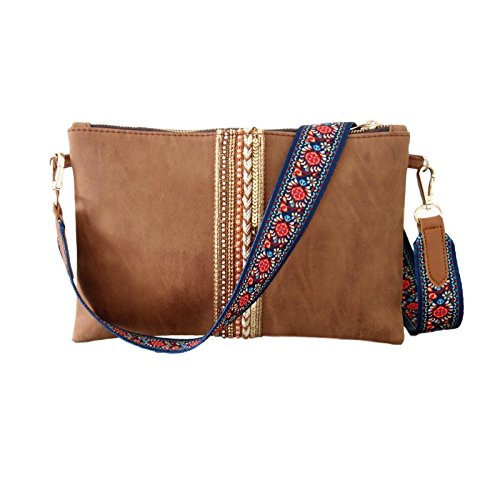 Clutch Umhängetasche - Designer Messenger Bag Braun mit Taschengurt Bunt Blumen und Kette Gold - Abendtasche Ausgehtasche Brauttasche
