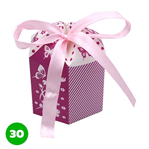 Kleenes Traumhandel, 30scatole regalo per battesimo, nascita e nozze,bomboniere, 8x 6x 6cm, Lilla, 8x6x6 cm