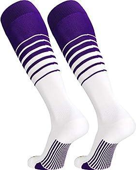 TCK Sports Elite Breaker Soccer Socks  Purple/White Medium