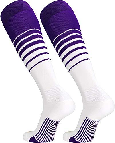 TCK Sports Elite Breaker Soccer Socks (Purple/White, Medium)