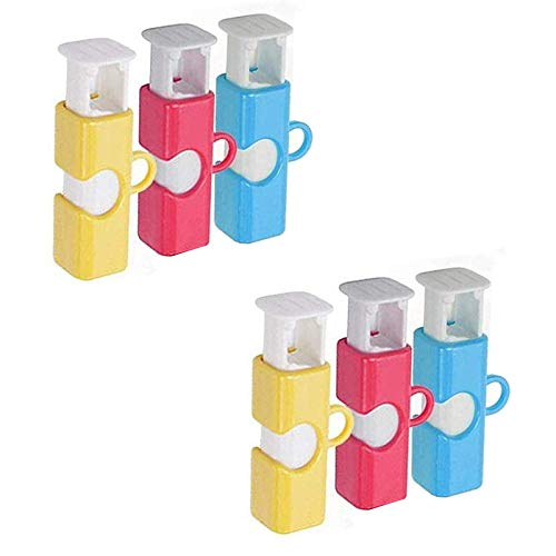 Bag Cinch Elastic Button Bread Bag Sealing Clip Plastic Bread Bag Clips Bag Clips for Food Storage Kitchen Tool (Colorful, 6PCS)