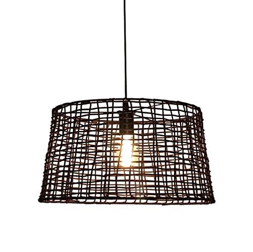 Lampadario creativo giapponese a LED in rattan fatto a mano, lampada a sospensione a reticolo nero, camera da letto, sala da tè, ristorante E27, lampada a sospensione a spirale, luce calda 45 cm