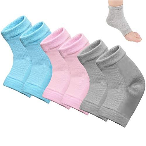 kuou 3 Paar weiche feuchtigkeitsspendende Socken, Gel-Futter mit ätherischen Ölen und Vitaminen für trockene, harte, rissige Haut, feuchtigkeitsspendende Haut für Tag und Nacht (grau, blau, rosa)
