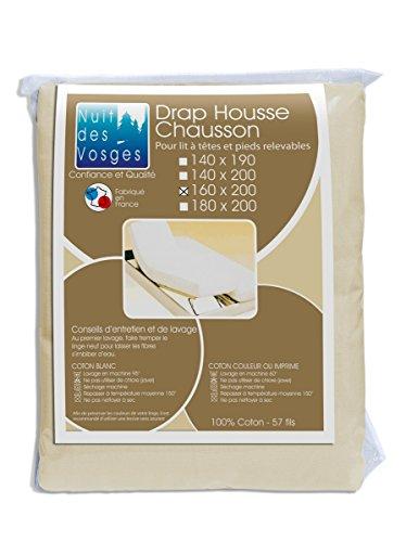 Nuit des Vosges Cotoval Drap Housse Tête et Pied Relevable Coton Naturel 160 x 200 cm