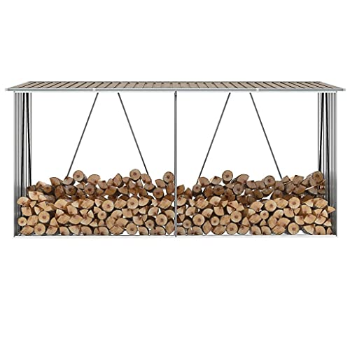 vidaXL Abri de Stockage de Bois Abri de Chauffage de Bois Abri de Jardin Rangement Extérieur Durable Acier Galvanisé 330x84x152 cm Marron