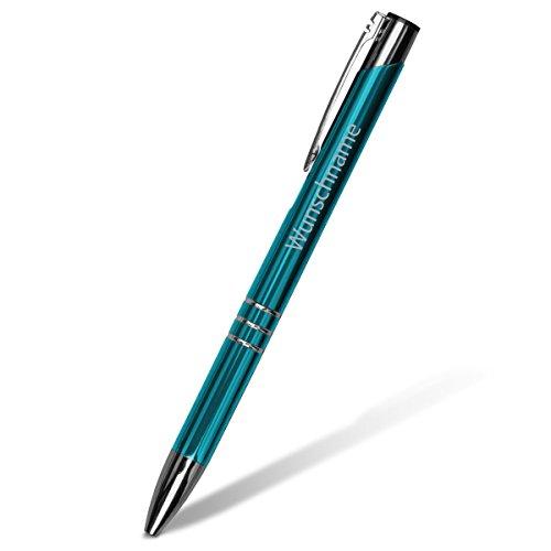 Kugelschreiber Chicago (1 Stück) Stift Schriftzug inkl. individueller Laser-Gravur in Türkis