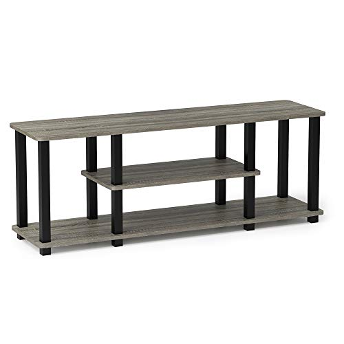 FURINNO Turn-N-Tube 3-Tier Entertainment TV Stands, Square, French Oak Grey/Black