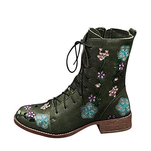 JKRTR Botines para mujer Martin de invierno, botines de nieve, verde, 39.5 EU