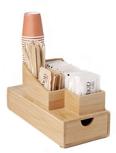 FMC Solutions - Soporte para accesorios de café y té de bambú para azúcar en bolsas, paletas, vasos y cápsulas Nespresso – Organizador de mesa con cajón porta cápsulas o cápsulas