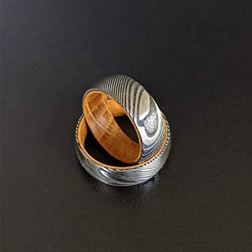 Whiskey Barrel Ring with Damascus Steel 8mm Whiskey Wood Rings for Men - Damascus Ring with Wood Inlay Bourbon Barrel Ring Mens Wedding Band